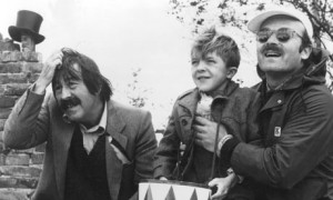 Günter Grass (left) with actor David Bennett (centre) who played. Oskar Mazerath in  film adaptation by Director Volker Schöndorf (right)  of Grass's novel The Tin Drum.    Photograph : Untied Artists/ EPA